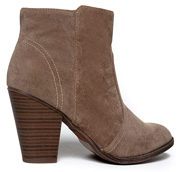 d9b45a3d89b53 Amazon.com | Breckelle's Women's HEATHER-34 Faux Suede Chunky Heel Ankle  Booties Beige | Ankle & Bootie