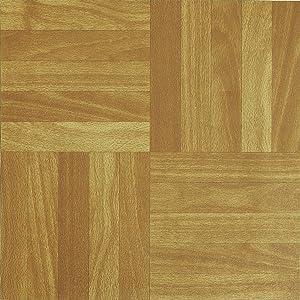 NEW 50 VINYL FLOORING TILES Light Plain Wooden Floor Effect SELF-ADHESIVE HOME SHOP KITCHEN BATHROOM DIY by SmartLife Vinyl