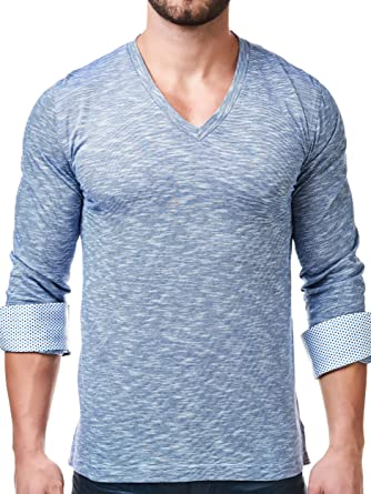 443115322810 Maceoo Mens Designer V Neck -Stylish & Trendy T Shirt -Blue Color-Tailored