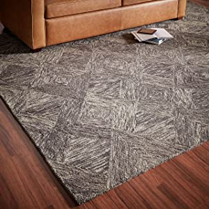 "Rivet Motion Modern Patterned Wool Area Rug, 8' x 10' 6"", Charcoal"