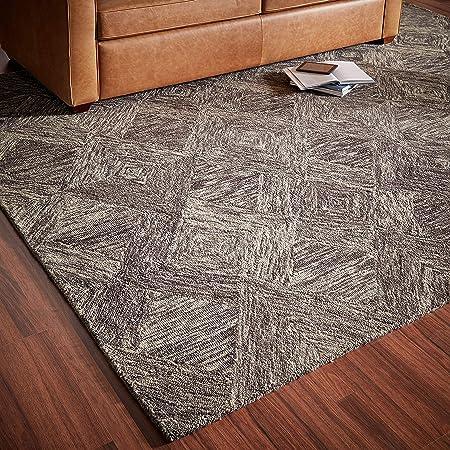Rivet Motion Modern Patterned Wool Area Rug 8 X 10 6 Charcoal