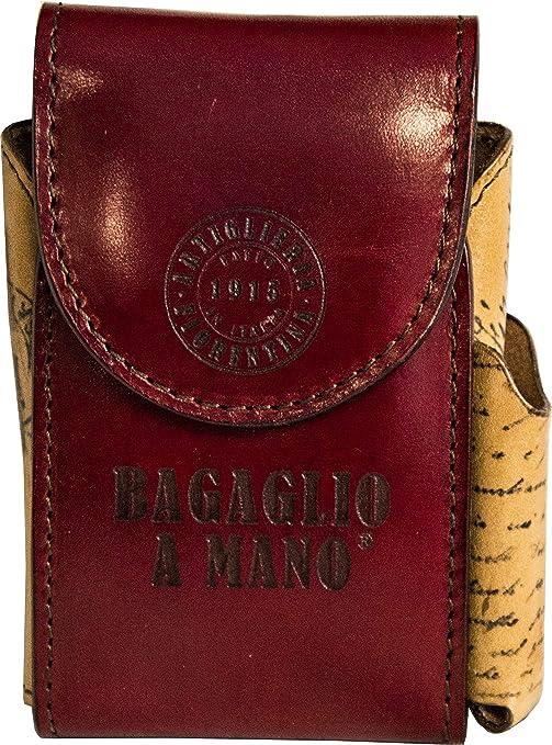 Artillería Florentina de Paquete de Cigarrillos de Piel Equipaje de Mano – Made in Italy, Burdeos (Rojo) - AF-PortaSigaMarr