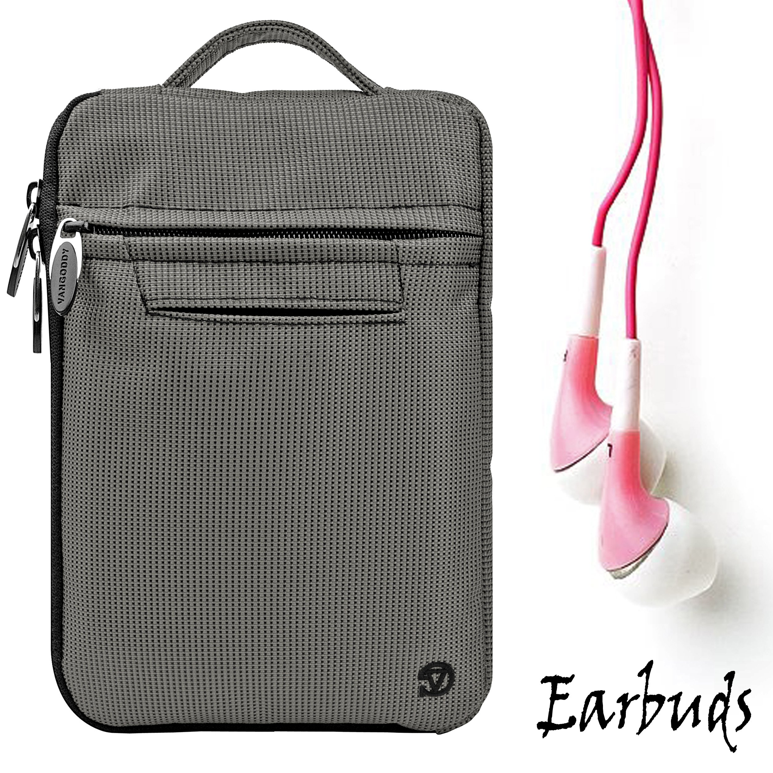 Gray Mighty Nylon Jacket Slim Compact Protective Sleeve Bag Case with accessories compartment for Pandigital Novel 7'' Color Multimedia eReader + Includes a Crystal Clear HD Noise Filter Ear buds Earphones Headphones ( 3.5mm Jack )