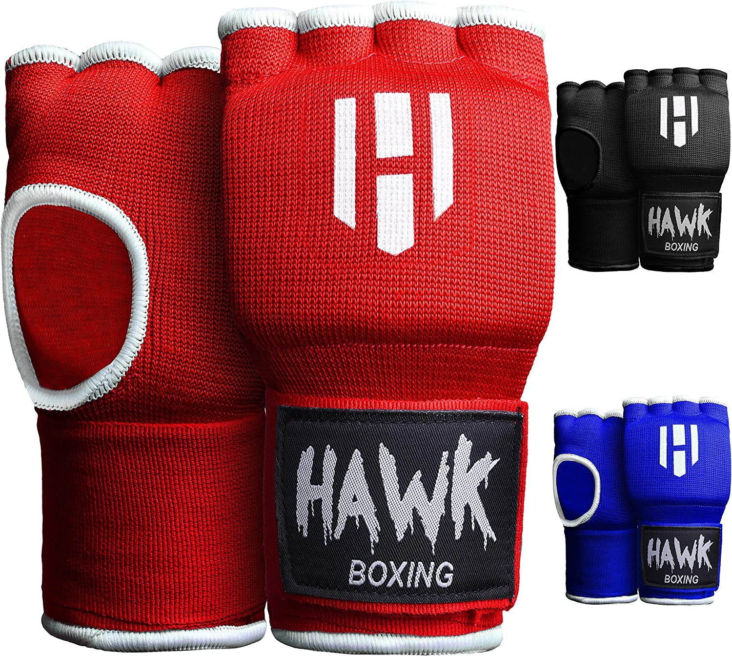 Hawk Padded Inner Gloves Training Gel Elastic Hand Wraps for Boxing Gloves Quick Wraps Men & Women Kickboxing Muay Thai MMA Bandages Fist Knuckle Wrist Wrap Protector Handwraps (Pair) : Sports & Outdoors