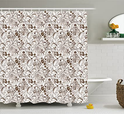 Chocolate Shower Curtain By Ambesonne Classical Victorian Flowers And Leaves Abstract Arrangement With Vintage Look