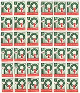US Post Office Dept 1962 Vintage Christmas ~ Wreath & Candles ~ Lot of 36 New Postage Stamps (Scott #1205)