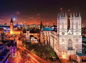 Jigsaw Puzzle Night View Big Ben & Westminster Abbey London UK 500-Pieces