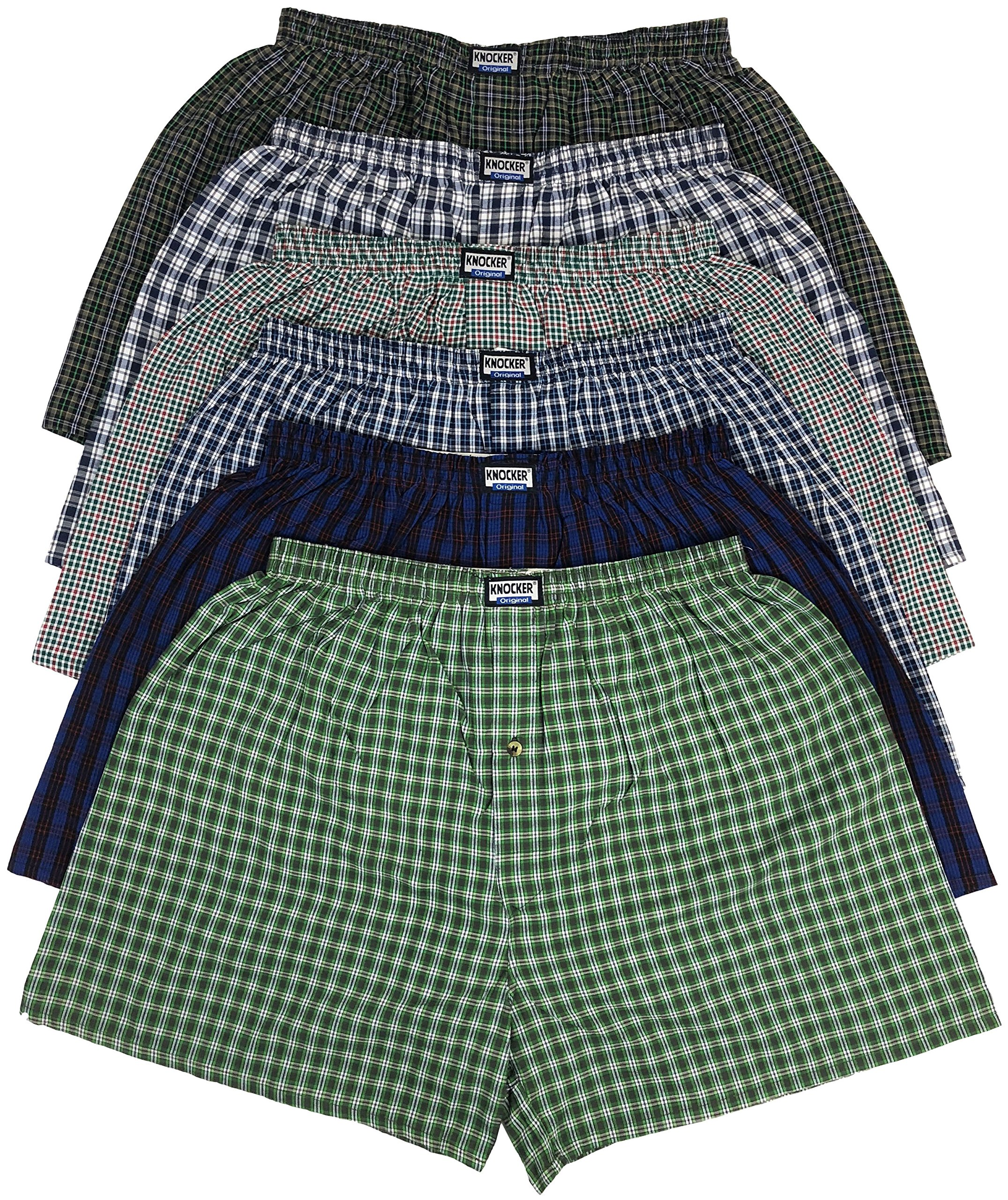 ToBeInStyle Men's Pack of 6 Classic Fit Tartan Plaid Boxers - Assorted - Large