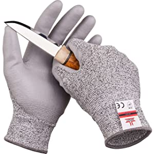 SafeAt Safety Grip Work Gloves for Men and Women – Protective, Flexible, Cut Resistant, Comfortable PU Coated Palm. Size Medium, Free eBook Gift Included!