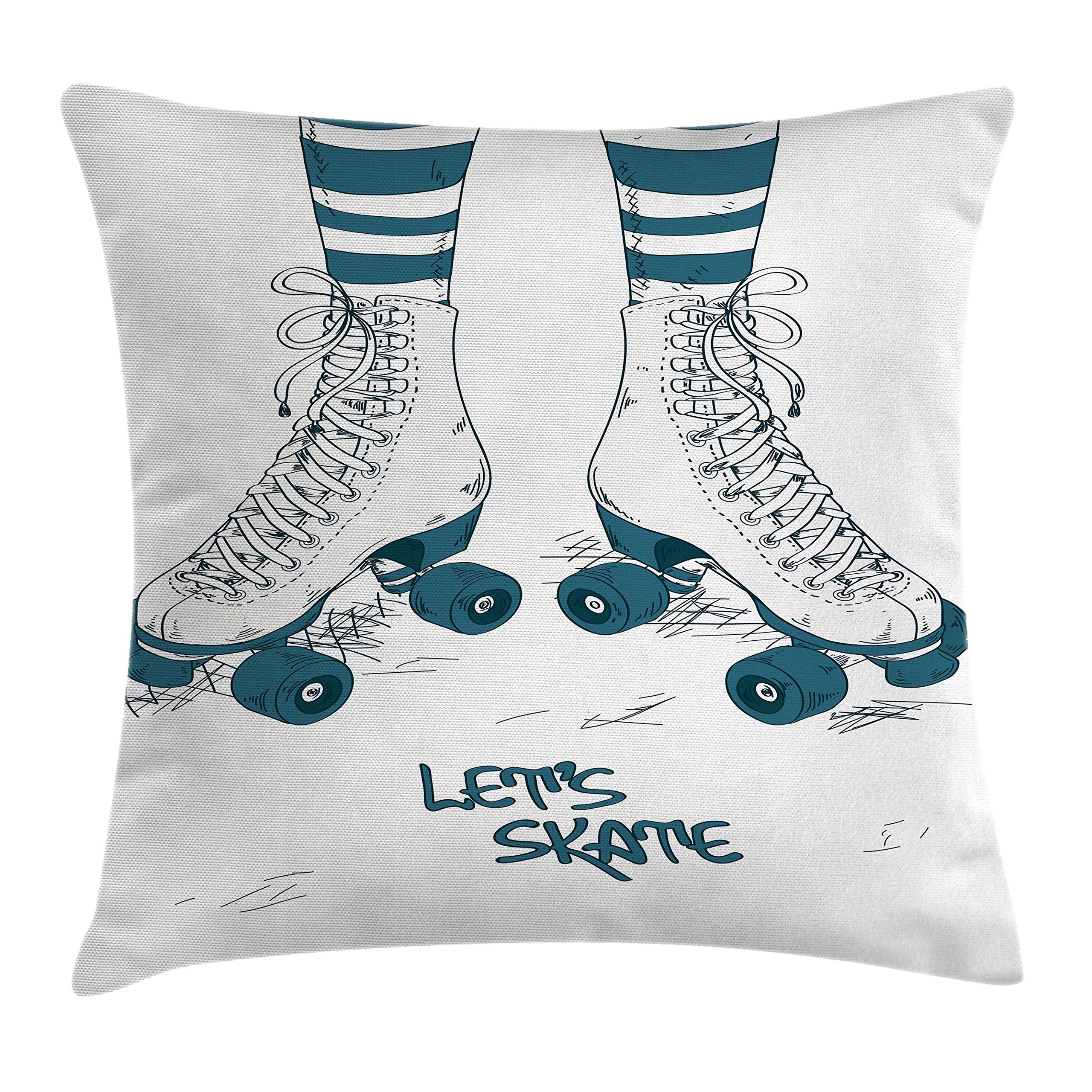 Ambesonne Vintage Throw Pillow Cushion Cover, Girl's Legs in Stripes Stockings and Retro Roller Skates Fun Teen Image Art Print, Decorative Square Accent Pillow Case, 18 X18 Inches, Teal White