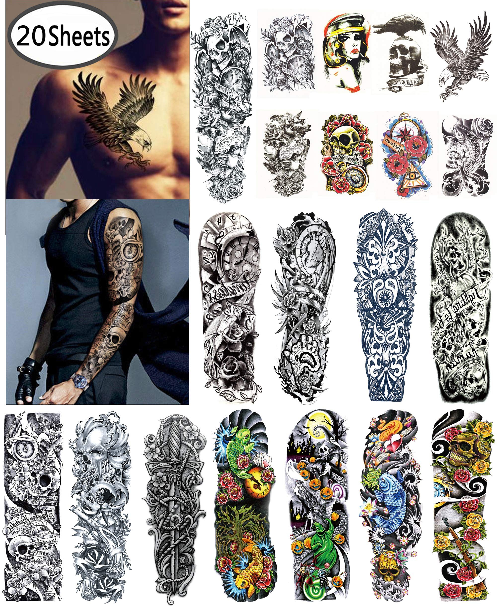 9bc50d30c DaLin Extra Large Temporary Tattoos Full Arm and Half Arm Tattoo Sleeves  for Men Women 20