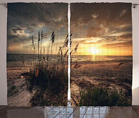 Ambesonne Beach Curtains, Calm Coastal Scene with Horizon in the Middle of Nowhere Cloudy Sunset Ocean Picture, Living Room Bedroom Window Drapes 2 Panel Set, 108W X 84L Inches, Tan Yellow
