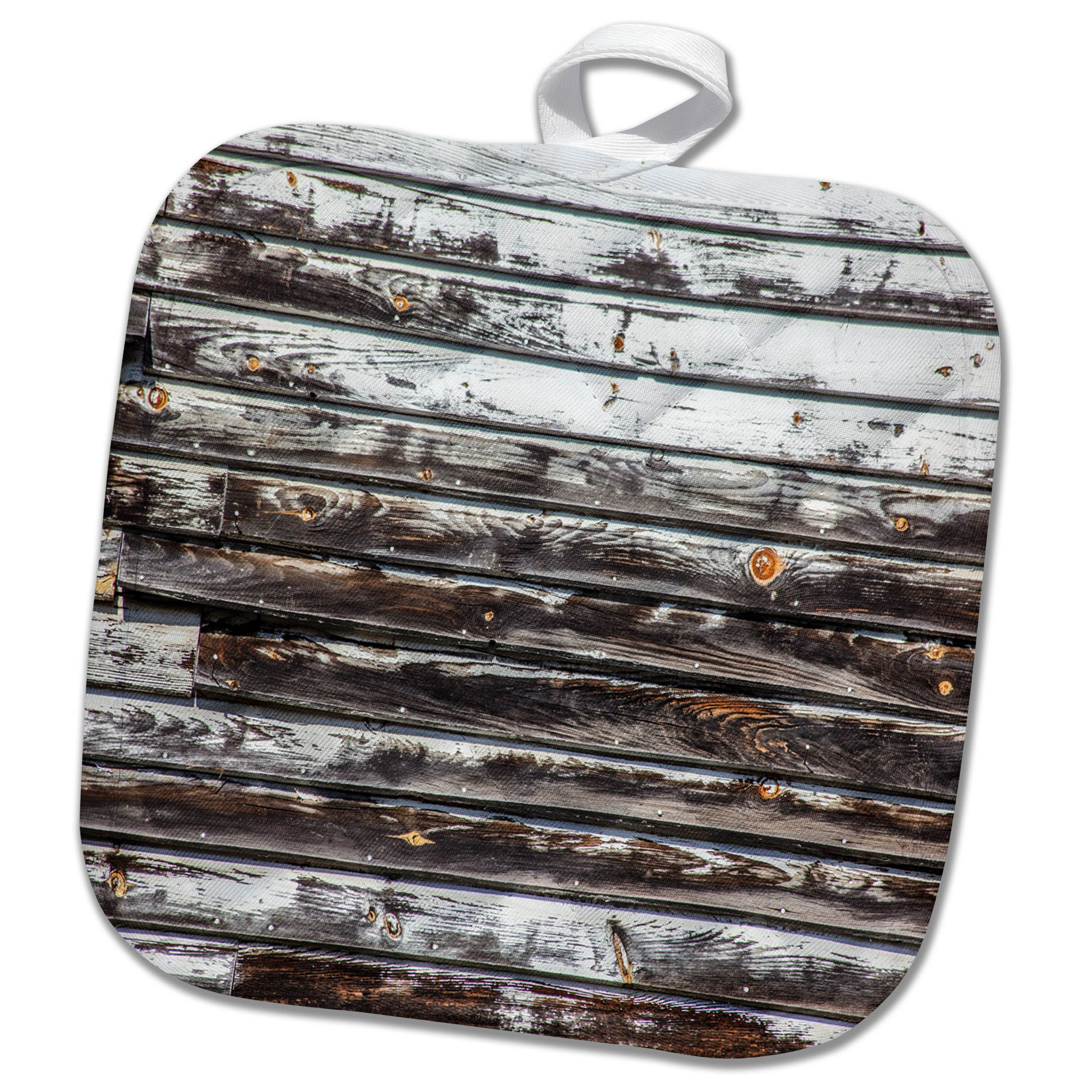 3dRose TDSwhite – Miscellaneous Photography - Weathered Wood Siding Chipped Paint - 8x8 Potholder (phl_285288_1)