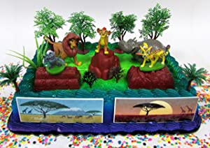 Lion Guard 15 Piece Birthday Cake Topper Set Featuring Random Lion Guard Figures and Decorative Themed Accessories