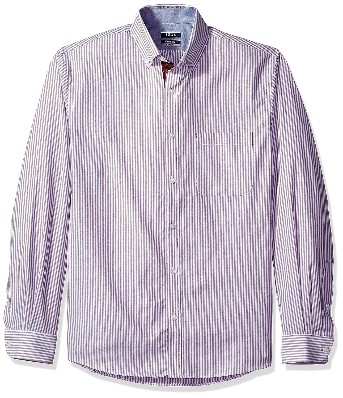 Izod Mens Slim Fit Collegiate Stripe Buttondown Collar Dress Shirt