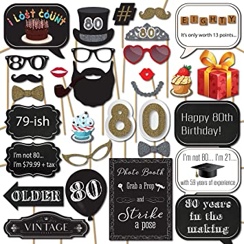 Amazoncom 80th Birthday Photo Booth Props With 31 Printed Pieces