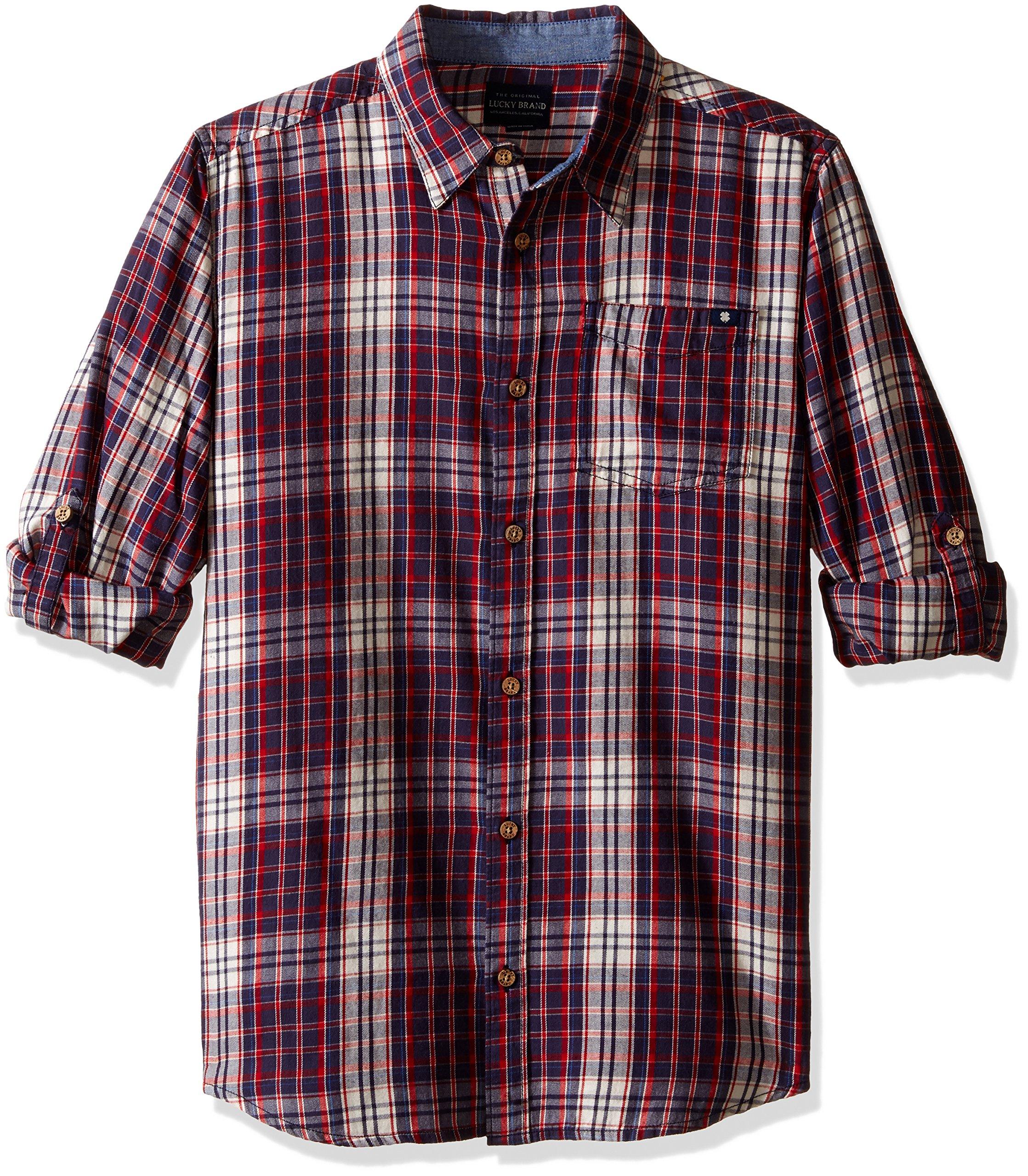 Lucky Brand Little Boys' Patriot Long Sleeve Plaid Sport Shirt, Peacoat, 4