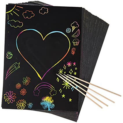 34a854f14e Amazon.com: Peachy Keen Crafts 50 Piece Rainbow Scratch Paper - 4 Wooden  Styluses Included - Create Rainbow Scratch Art with This Jumbo Craft Pack:  Toys & ...