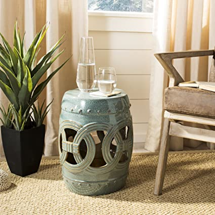 Safavieh Castle Gardens Collection Double Coin Blue Ceramic Garden Stool