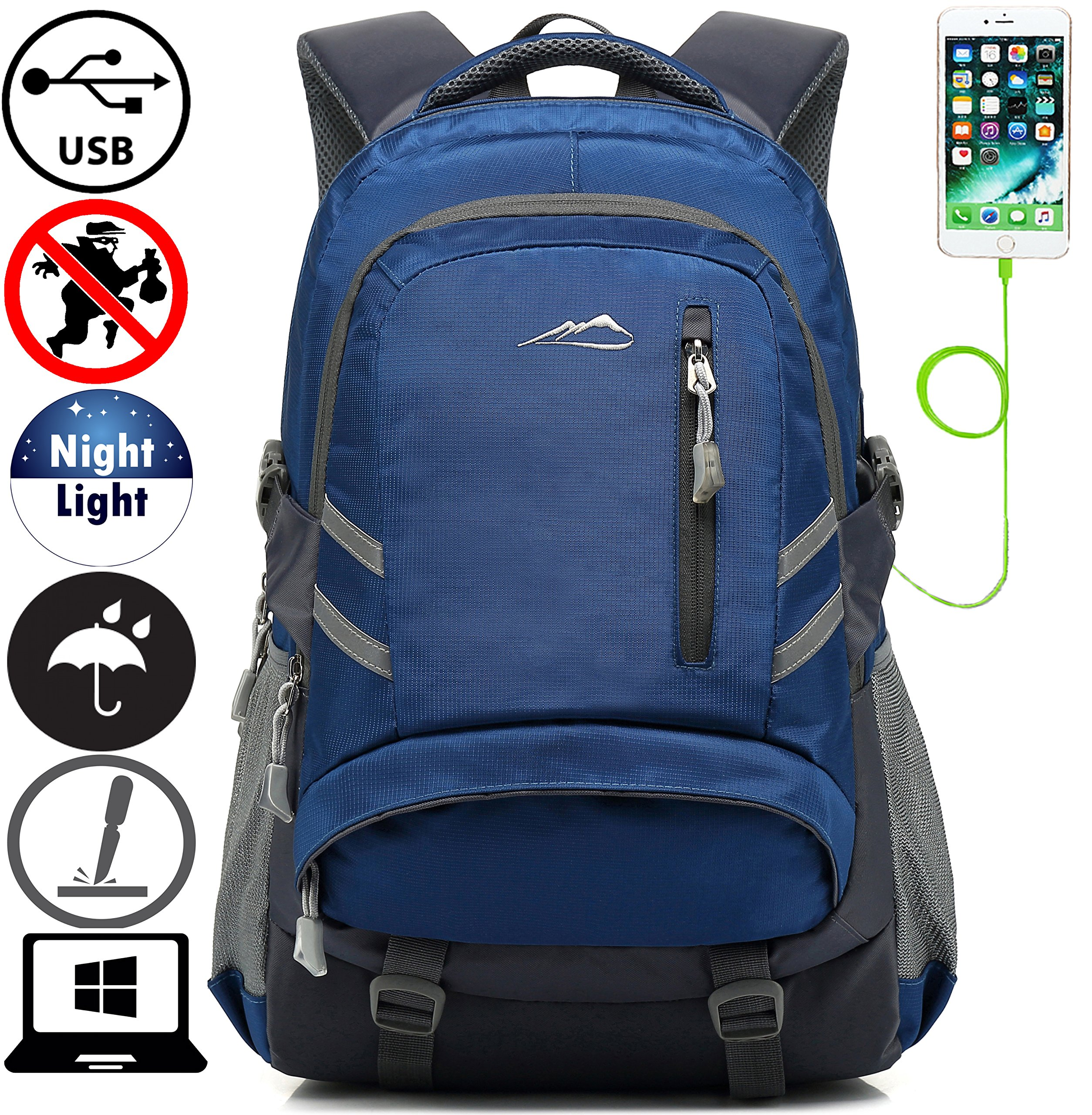 Backpack Bookbag For School College Student Travel Business With USB Charging Port Water Resistant Fit Laptop Up to 15.6 Inch Anti theft Night Light Reflective (Navy Blue)