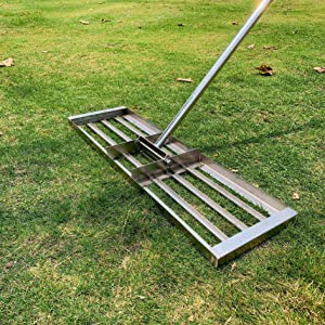 IWONGO 2021 Upgraded Lawn Leveling Rake 36'' x 10'' - Lawn Levelers with 72'' Long Stainless Steel Handle, Lawn Leveling Tool for Soil Dirt Sand Top Dressing