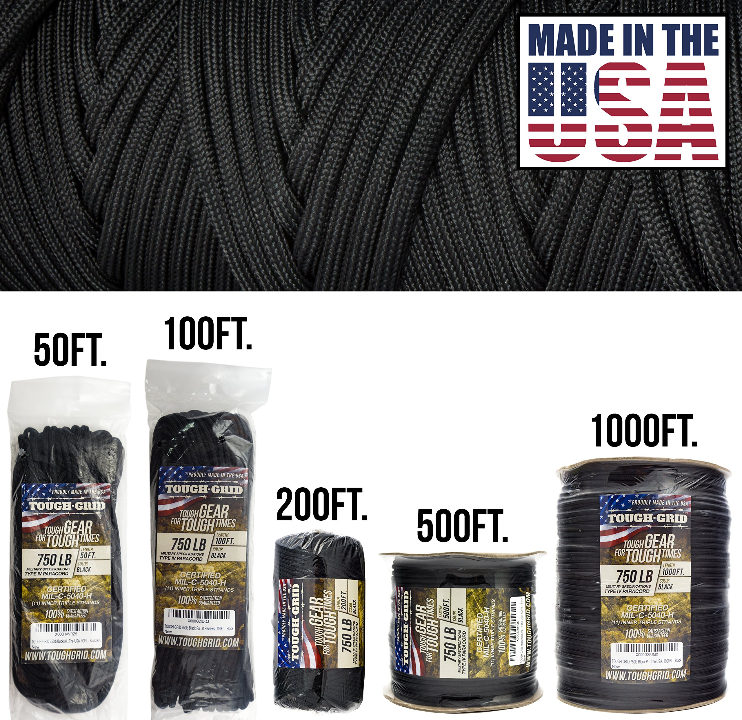 TOUGH-GRID 750lb Black Paracord/Parachute Cord - Genuine Mil Spec Type IV 750lb Paracord Used by The US Military (MIl-C-5040-H) - 100% Nylon - Made in The USA. 1000Ft. - Black by TOUGH-GRID