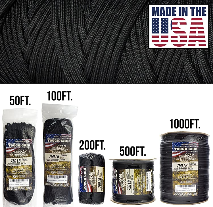 TOUGH-GRID 750lb Paracord/Parachute Cord - Genuine Mil Spec Type IV 750lb Paracord Used by the US Military