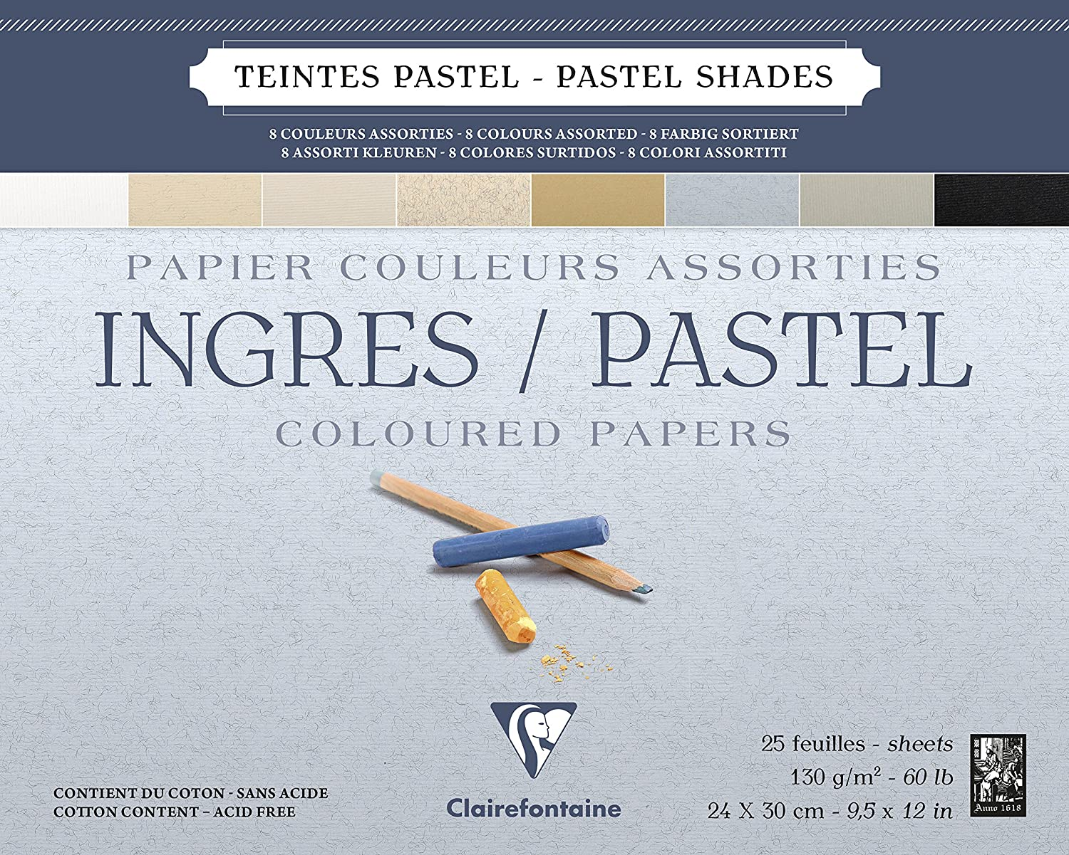 Clairefontaine : Ingres Glued Pastel Pad 24x30cm : 25s : Neutral Colours
