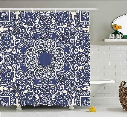 Ambesonne Navy Blue Shower Curtain 84 Inch Mandala Decor Circular Pattern Summer Boho Bohemian Native