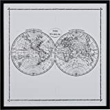 "Amazon Brand – Rivet World Map Hemisphere Print in Black and White Vintage Wall Art, Black Frame, 30.5"" x 30.5"""