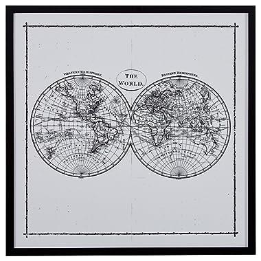 World Map Hemisphere Print in Black and White Vintage Wall Art, Black Frame, 30.5  x 30.5