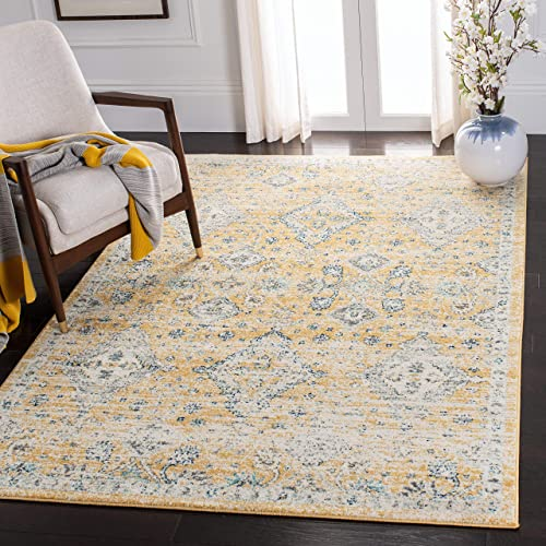 Safavieh Evoke Collection EVK224B Contemporary Bohemian Gold and Ivory Area Rug 4 x 6