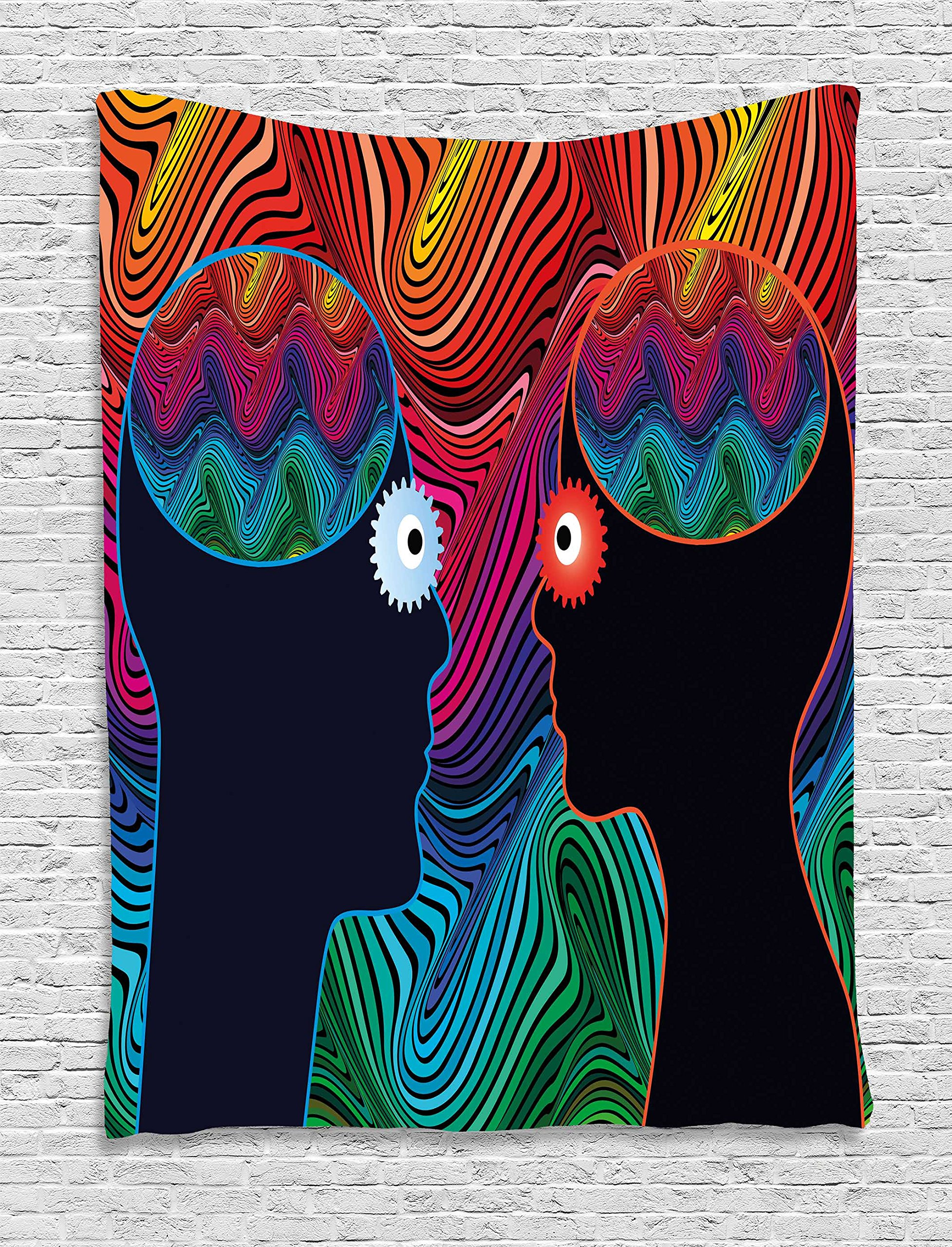 Ambesonne Psychedelic Tapestry, Crazy in Love Couple Romance Man and Woman with Floral Eyes Stripes Illustration, Wall Hanging for Bedroom Living Room Dorm, 60 W x 80 L Inches, Multi