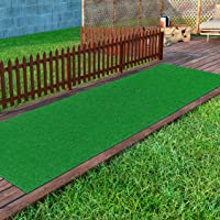 "Ottomanson Evergreen Collection Indoor/Outdoor Green Artificial Grass Turf Solid Design Runner Rug, 2'7"" x 8'"