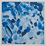 """Amazon Brand – Stone & Beam Abstract Hues of Blue, White Wood Frame, 18"""" x 18"""""""