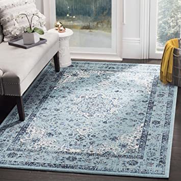 evoke collection vintage oriental light blue area rug cheap 8x10 traditional french floral wool persian