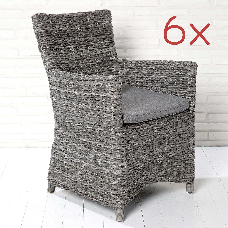 Gartenmöbel Set Gartenstühle Stuhl Stühle Poly Rattan Gartensessel 6 Stk  Grau Kaufen