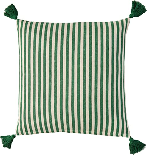 Creative Co-Op Off-White Green Striped Square Cotton Pillow with Green Tassels