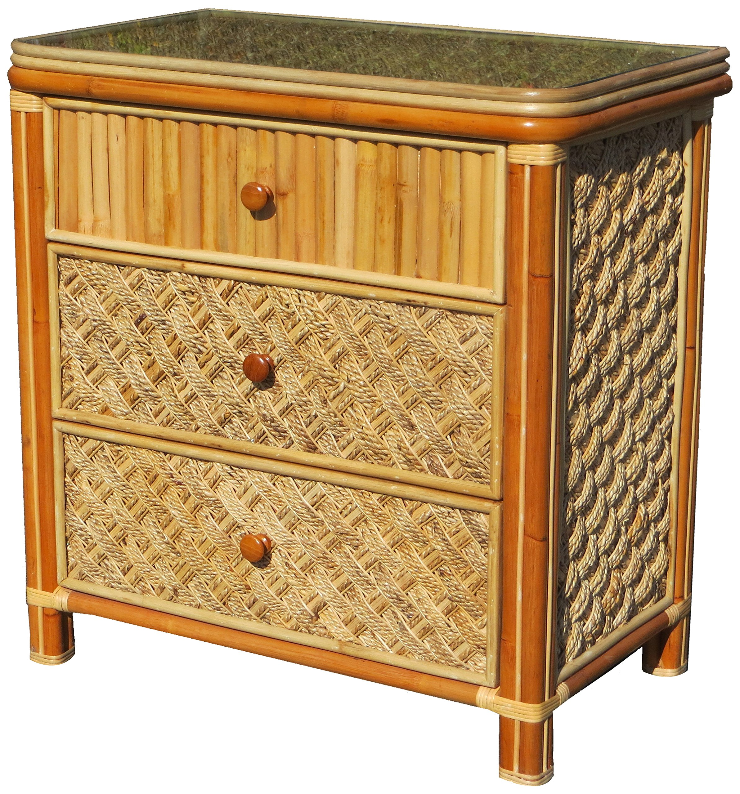 Spice Islands Mandalay 3 Drawer Dresser, Natural - Most of their designs incorporate natural wicker Wicker designs to enhance your space Natural in color - dressers-bedroom-furniture, bedroom-furniture, bedroom - A1PHLkAEatL -
