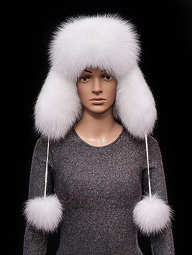 07db906b6a4 Amazon.com  Saga Furs Snow White Arctic Shadow Fox Fur and Leather Handmade Ladies  Bomber Aviator Hat POM POM  Handmade