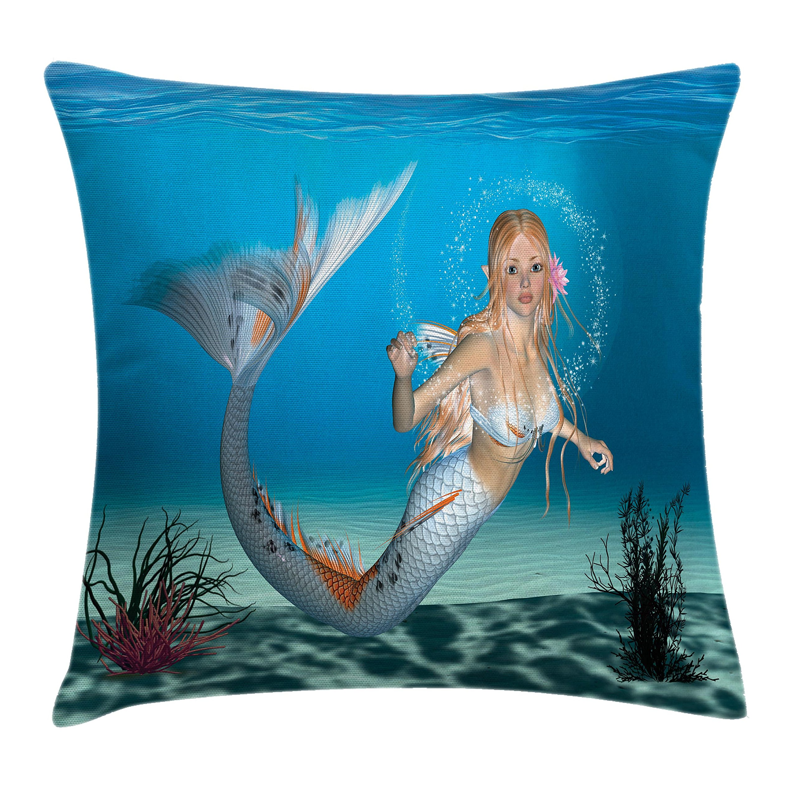 Ambesonne Kids Throw Pillow Cushion Cover, Digital Graphic of a Mermaid in Tropic Ocean Magical Legendary Fairytale Creature, Decorative Square Accent Pillow Case, 18 X 18 inches, Navy Ocean Blue