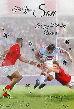 Fur Sie Sohn Happy Birthday Wishes Rugby Geburtstagskarte