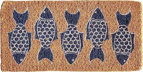 Creative Co-op Fish Print Coir Doormat, Natural Blue