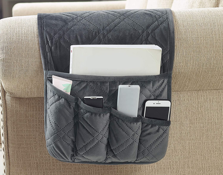 "Brilliant Sunshine Matching Sofa Furniture Organizer Hanging Storage with Pocket for TV Remote Controls, Pens, Books, Eye-Glasses and Magazines (35""×13"" Grey)"