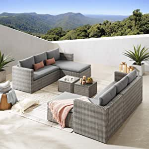 Volans 6 Piece Modular Outdoor Wicker Rattan Patio Furniture Set, Patio Sectional Conversation Sofa Set with Cushions and Coffee Table, Gray