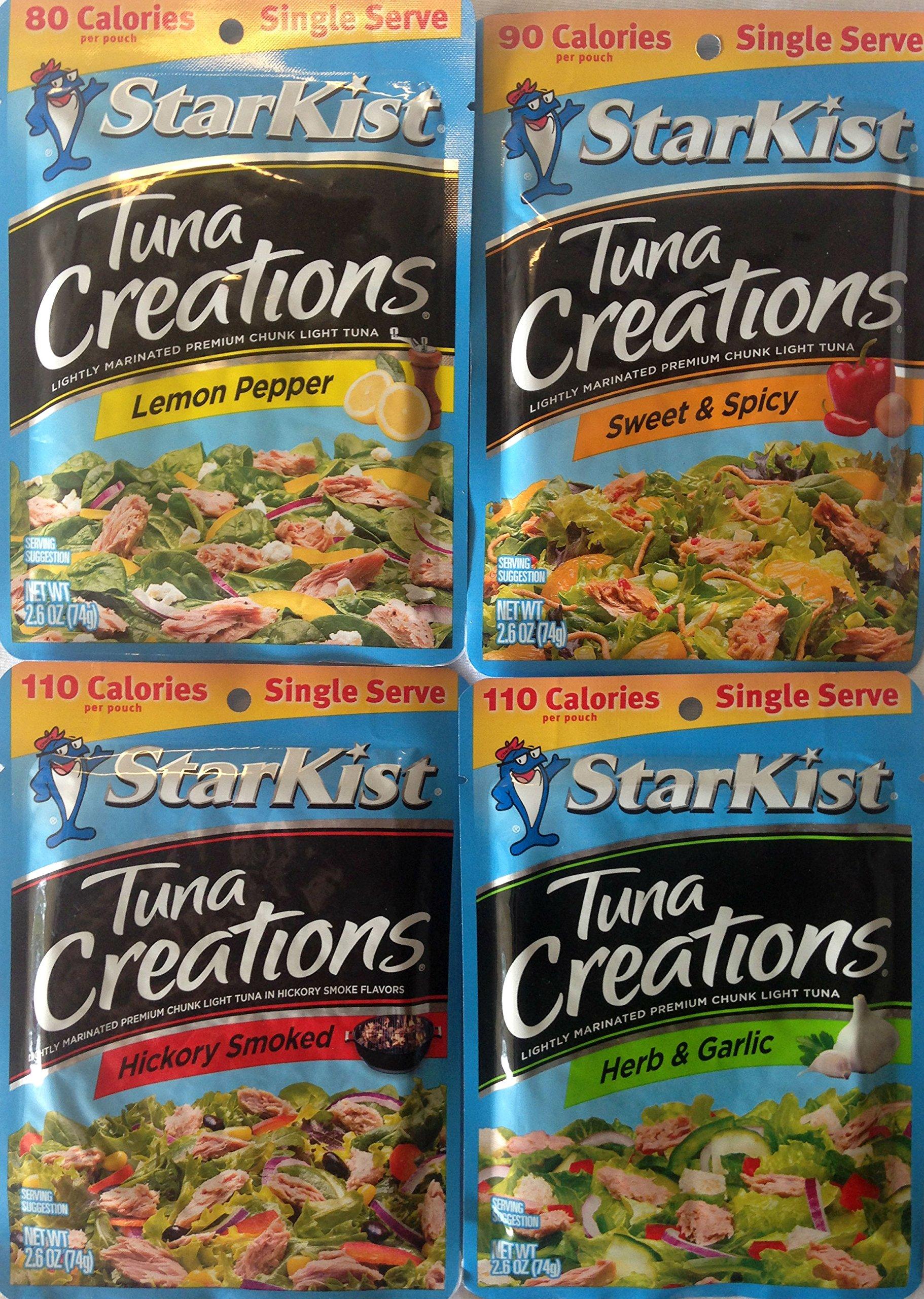 Starkist Tuna Creations - Variety Pack; Hickory Smoked, Herb & Garlic, Lemon Pepper, Sweet & Spicy (Pack of 4)
