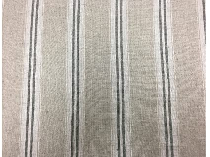 French Vintage Linen Stripe Charcoal Grey Curtain Craft Upholstery