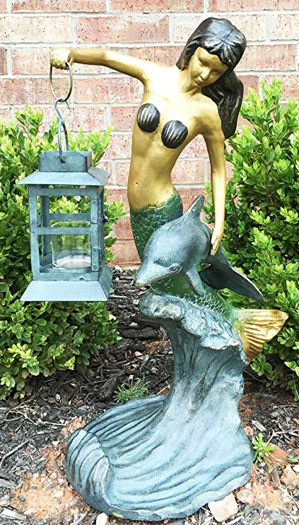 Outdoor Lawn Garden Patio Nautical Coral Mermaid Holding Candle Lantern  Statue Candleholder Lawn Ornament Decor