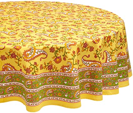 Mahogany Floral Paisley Print Tablecloth, 70 Inch Round, 100 Percent Cotton,