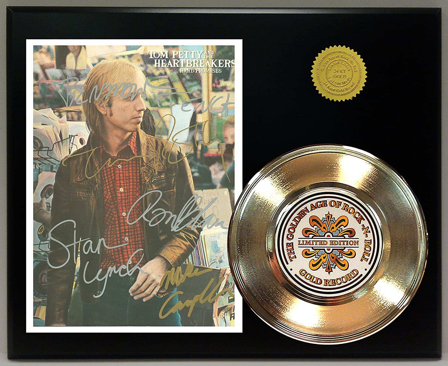 Tom Petty Gold Record Reproduction Signature Series LTD Edition Display